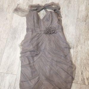 Alfred Angelo gray bridesmaids dress